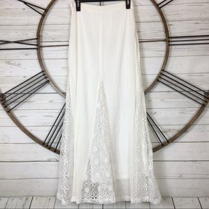 HAUTE SOCIETY White Boho Floral Lace Maxi Skirt M